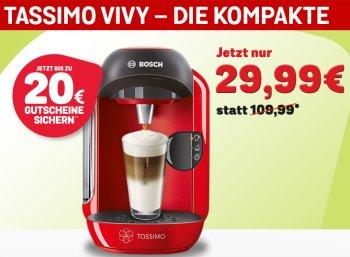 Tassimo Vivy: Kapselmaschine mit Gutscheinen über 20 Euro für 29,99 Euro