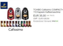 Tchibo: Cafissimo Compact mit 110 Kapseln für 35 Euro frei Haus