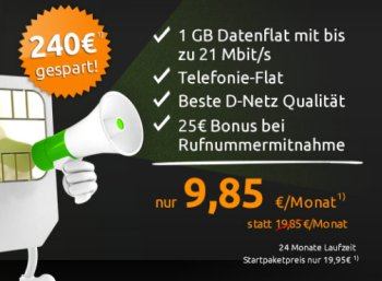 Telekom-Netz: Allnet-Flat und GByte Datenflat für 9,85 Euro