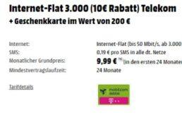 Mediamarkt: Drei GByte LTE-Flat im Telekom-Netz für 2,07 Euro dank Gutschein