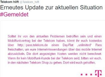 Telekom-Ausfall: Gratis-Datenflat ohne Limit für betroffene Kunden