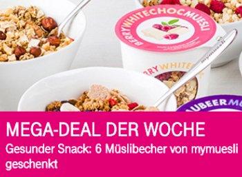 Mymuesli: Sechs Müsli-to-go-Becher für Telekom-Kunden für 3,90 Euro