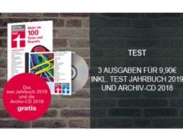 """Gratis: """"Test Jahrbuch 2019"""" und Archiv-CD-2018 zum Probeabo für 9,90 Euro"""