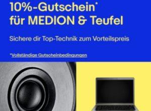 Ebay: Rabatt von zehn Prozent auf Produkte von Medion und Teufel