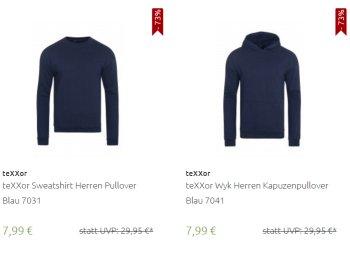 Texxor: Hooedies und Pullover aus 100 Prozent Baumwolle für 7,99 Euro