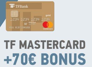 Wieder da: Kostenlose Mastercard Gold mit 70 Euro Bonus