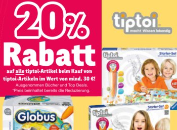 Tiptoi: Rabatt von 20 Prozent ab 30 Euro Warenwert