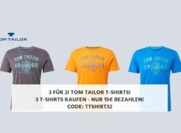 Tom Tailor: Drei T-Shirts nach Wahl für 15 Euro frei Haus