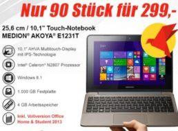 Medion: Touch-Netbook mit Office und Hotelgutschein für 299 Euro