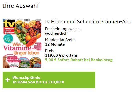 """Jahresabo: """"TV Hören und Sehen"""" für 114,60 Euro mit Gutschein über 110 Euro"""