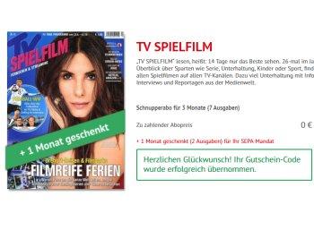 """Gratis: Vier Monate """"TV Spiefilm"""" zum Nulltarif frei Haus"""