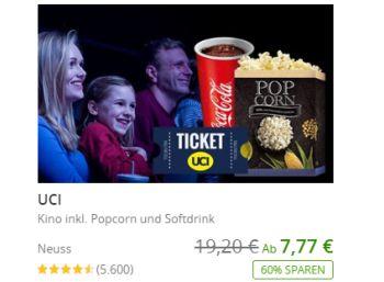 Groupon: UCI-Kinogutschein mit Popcorn und Getränk ab 7,77 Euro