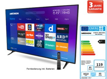 Aldi-Süd: UHD-TV mit 164 Zentimeter Diagonale für 799 Euro frei Haus