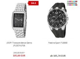Uhr.de: 15 Euro Rabatt ab 100 Euro Warenwert