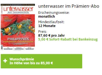 """""""Unterwasser"""": Jahresabo für 82,60 Euro mit Prämie über 85 Euro"""