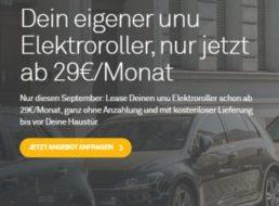Unu: Elektroroller zum Leasingpreis von 29 Euro im Monat ohne Anzahlung