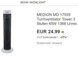 Ebay: Turmventilator und Klimagerät für einen Tag reduziert