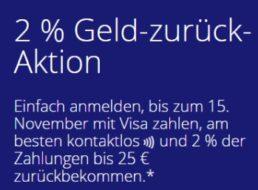 Visa: Zwei Prozent Geld zurück für Einkäufe bis 25 Euro
