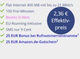 Klarmobil: D-Netz-Flat mit 400 MByte und 100 Freiminuten für 2,36 Euro