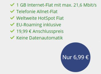 Vodafone: Flat Allnet Comfort mit Allnet-Flat und 1 GByte Daten für 6,99 Euro