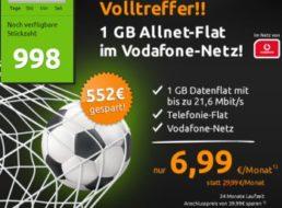 Knaller: Allnet-Flat mit 1 GByte Daten im Vodafone-Netz für 6,99 Euro