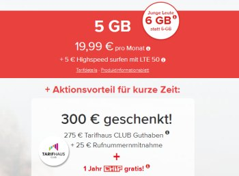 Tarifhaus: 5 GByte LTE, Allnet- & SMS-Flat für effektiv 12,49 Euro