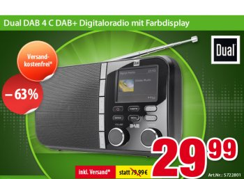 "Völkner: DAB-Kofferradio ""Dual DAB 4 C"" für 29,99 Euro frei Haus"