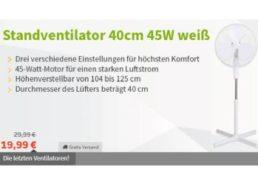Völkner: Standventilator mit drei Stufen für 19,99 Euro frei Haus