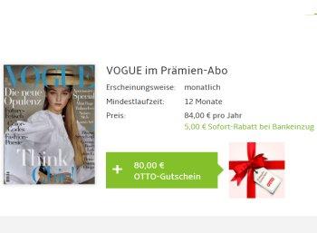 Gratis: Vogue im Jahresabo mit einem Euro Gewinn dank Otto-Gutschein