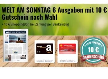 """""""Welt am Sonntag"""": Sechs Ausgaben für 18,40 mit Gutscheinen über 20 Euro"""