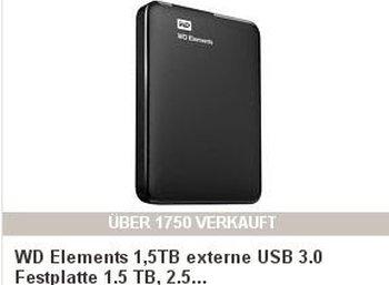 WD Elements mit 1500 GByte für 59 Euro frei Haus