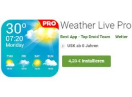 """Gratis: App """"Weather Live Pro"""" für 0 statt 4,29 Euro"""