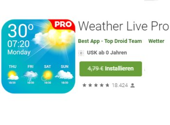 "Gratis: App ""Weather Live Pro"" via Google Play zum Nulltarif"