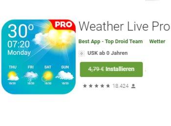 "Gratis: App ""Weather Live Pro"" via Google Play zum Nulltarif"