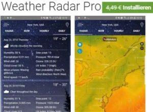 Gratis: Weather Radar Pro bei Google Play für 0 statt 4,49 Euro