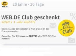 Gratis: Ein Jahr Web.de-Club mit automatischer Kündigung zum Nulltarif