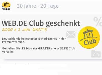 Ein Jahr Web.de-Club mit automatischer Kündigung zum Nulltarif