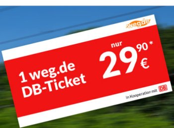 Weg.de: Bahntickets zum Preis von 29,90 Euro für deutschlandweite Fahrten