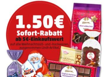 Penny: 1,50 Euro Weihnachtsrabatt ab 5 Euro Warenwert am Wochenende