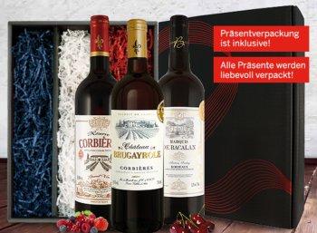 Ebrosia: Weingeschenk-Trio mit drei prämierten Franzosen für 19,89 Euro