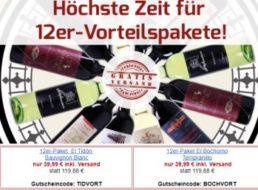 Weinvorteil: Vier Zwölfer-Weinpaket für jeweils 39,99 Euro frei Haus