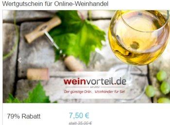 Weinvorteil: Gutschein über 35 Euro bei Dailydeal für 7,50 Euro