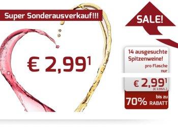 Weinvorteil: 14 verschiedene Weine zum Flaschenpreis von 2,99 Euro