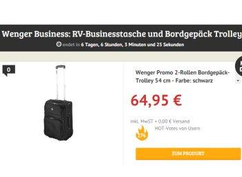 Dealclub: Wenger Bordgepäck-Trolley für 64,95 Euro frei Haus