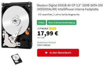 Western Digital: Festplatte mit 500 GByte als B-Ware für 17,99 Euro frei Haus