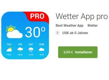 Gratis: Wetter App Pro bei Google Play für 0 Euro