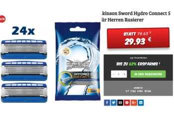 """Dealclub: 24 Rasierklingen """"Wilkinson Sword Hydro Connect 5"""" für 29,93 Euro"""