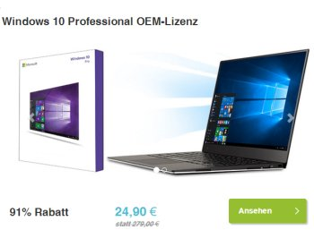 Dailydeal: Windows 10 Professional OEM für 24,99 Euro frei Haus