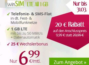 WinSIM: 1 GByte LTE, Allnet- und SMS-Flat für 6,99 Euro