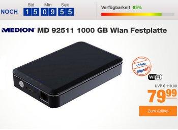 Plus: WLAN-Festplatte Medion Life S88411 für 79,99 Euro frei Haus